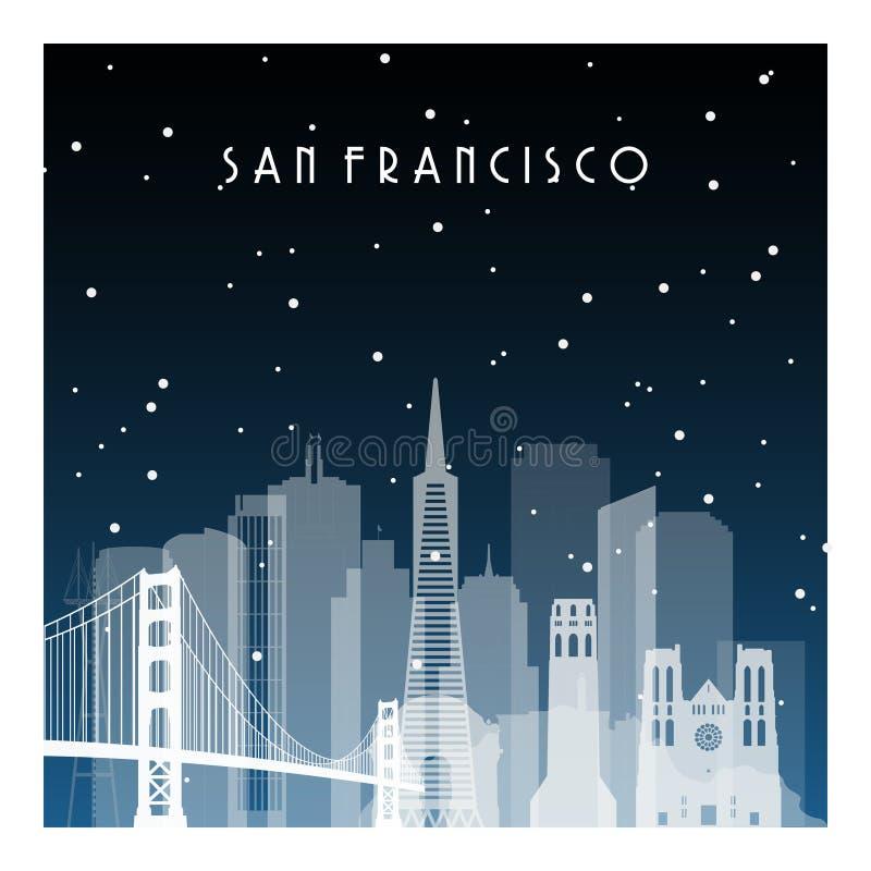 De winternacht in San Francisco stock illustratie