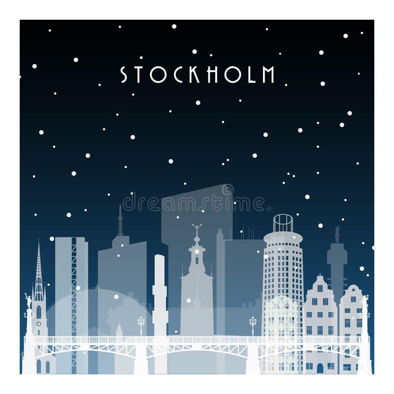 De winternacht in Stockholm stock illustratie