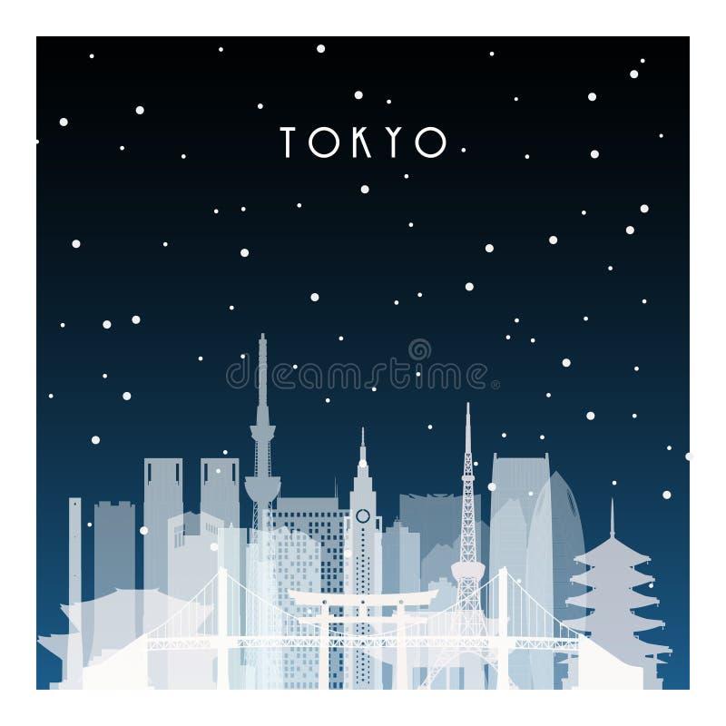De winternacht in Tokyo vector illustratie