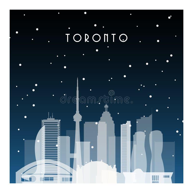 De winternacht in Toronto stock illustratie