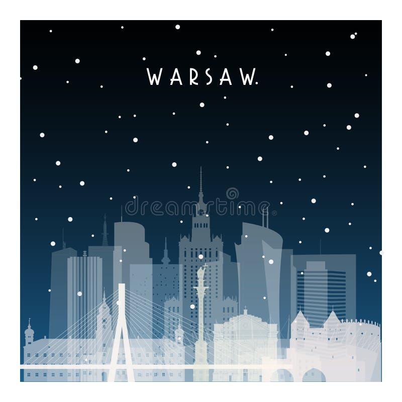 De winternacht in Warshau stock illustratie