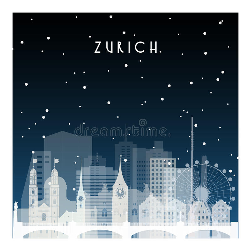 De winternacht in Zürich royalty-vrije illustratie