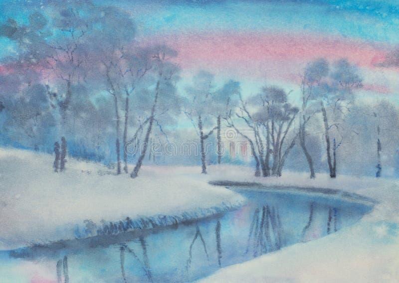 De winterochtend in pavlovsk park vector illustratie