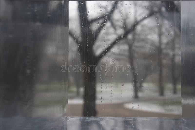 De winterpark door een glas met dalingen royalty-vrije stock afbeeldingen