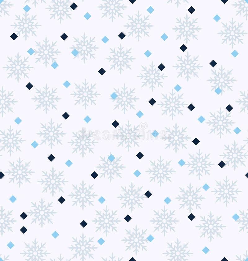 De winterpatroon met diamanten en sneeuwvlokken Naadloze vectorbac royalty-vrije illustratie