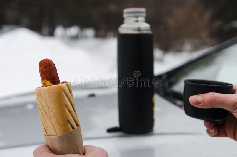 De winterpicknick met thee en Hotdog op de kap van een zilveren auto tegen de achtergrond van het bos stock afbeeldingen
