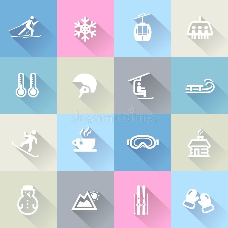 De winterpictogrammen in Vlak Ontwerp royalty-vrije illustratie