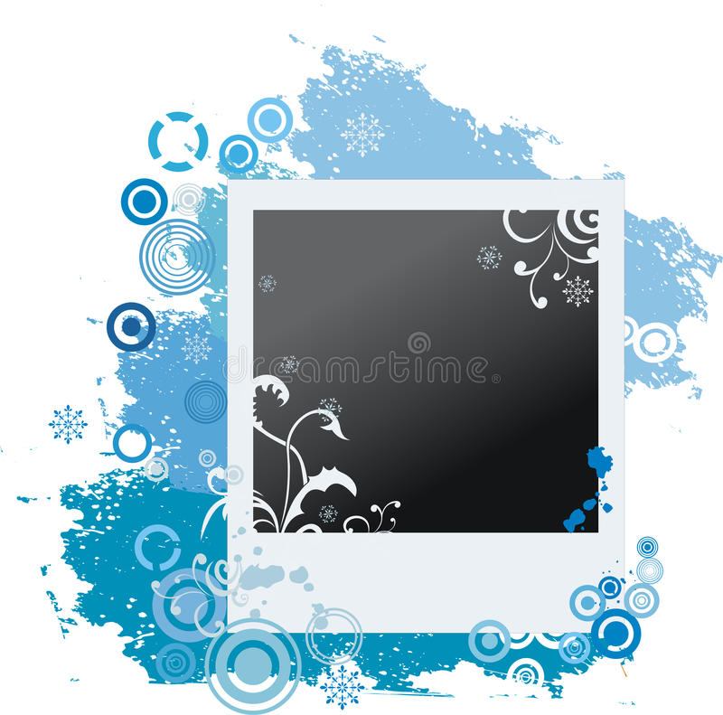 De winterpolaroid van Grunge met sneeuwvlokken stock illustratie