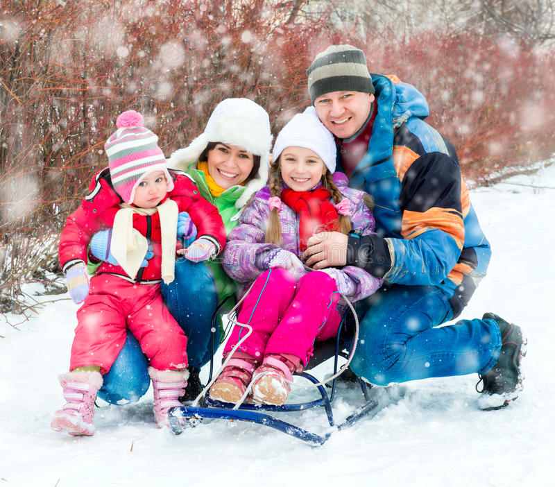 De winterportret van gelukkige jonge familie stock foto