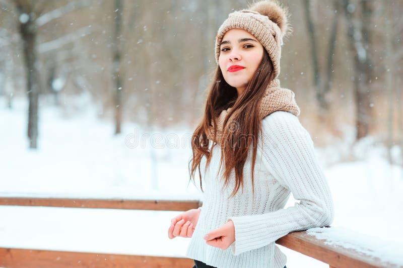 de winterportret van het gelukkige jonge vrouw lopen openlucht in sneeuwpark in gebreide sweater stock afbeelding