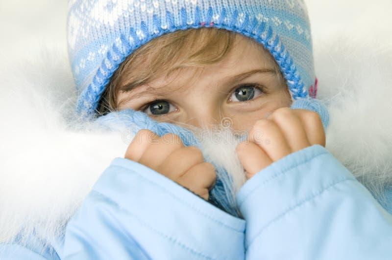De winterportret van het meisje royalty-vrije stock fotografie