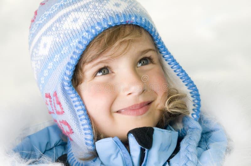 De winterportret van het meisje stock afbeelding