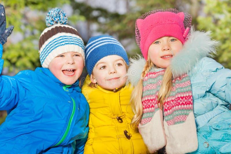 De winterportret van kleine jonge geitjesgroep stock foto's