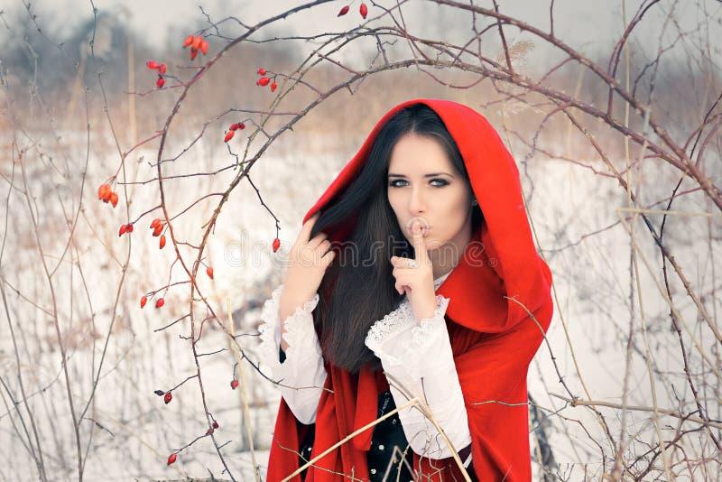 De winterprinses Holding een Geheim die Stil Gebaar maken stock foto