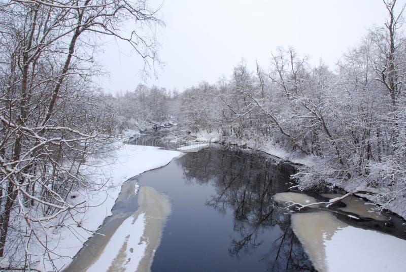 De winterrivier stock foto
