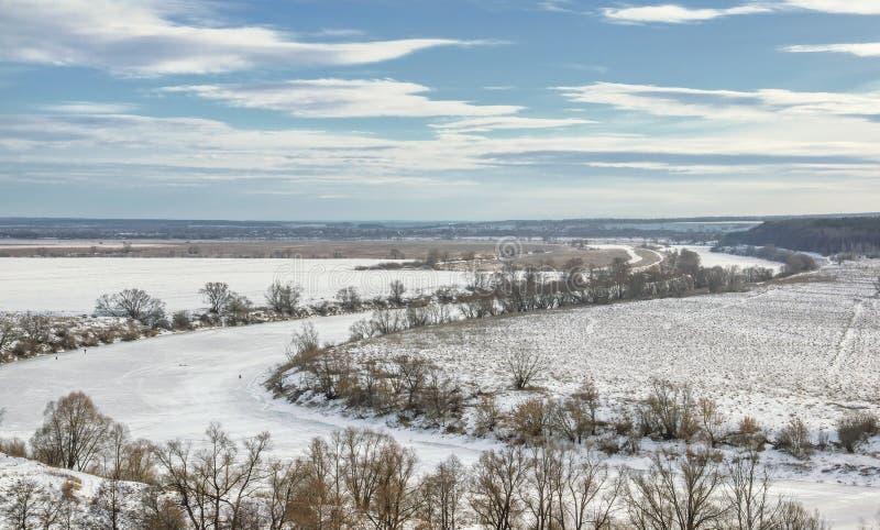 De winterscène in Centraal Rusland stock afbeeldingen