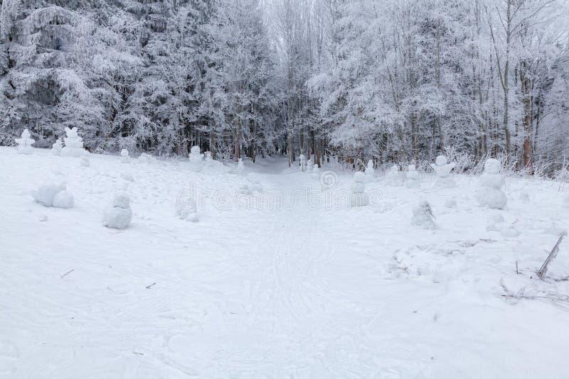 De winterscène in een rust streek dichtbij bosbanken en sneeuwmannen, bosweg royalty-vrije stock afbeelding