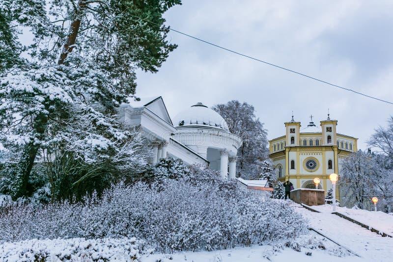 De winterscène van Marianske Lazne stock foto
