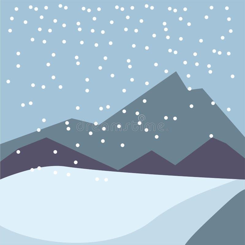 De wintersneeuw koude landschap van vier het landschaps het vector vlakke bergen van de seizoenenaard vector illustratie