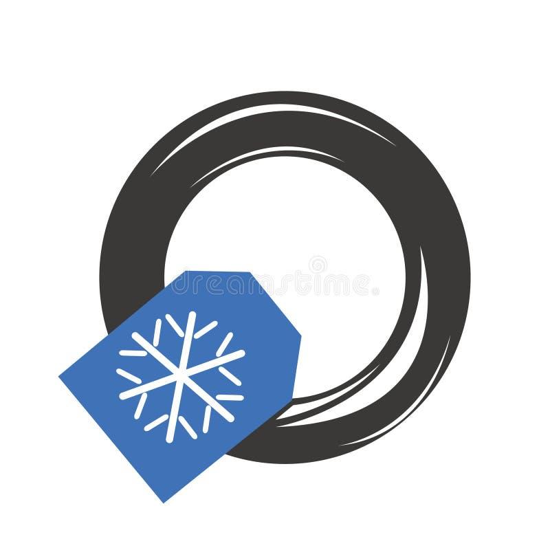 De wintersneeuw van autobanden stock afbeeldingen