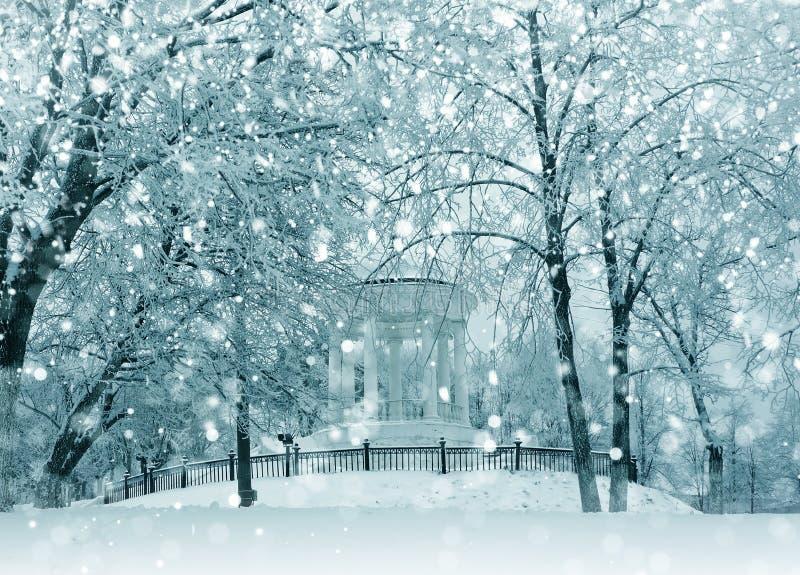 De wintersneeuwstorm in stad royalty-vrije stock fotografie