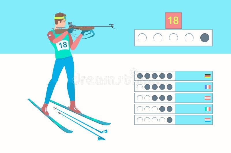 De wintersport Biathlon vector illustratie