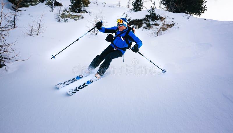 De wintersport: mens die in poedersneeuw ski?en royalty-vrije stock afbeelding