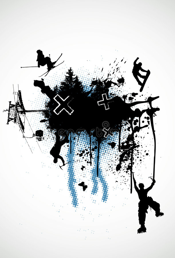 De Wintersporten van Grunge vector illustratie