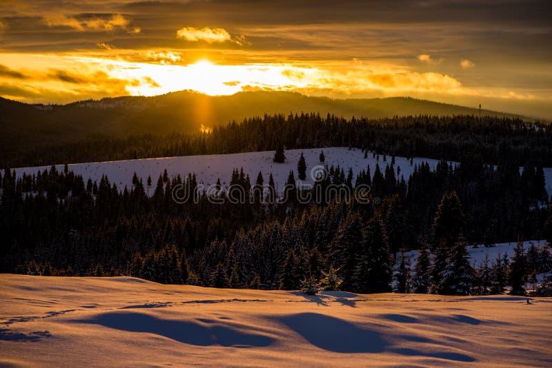 De wintersprookjesland in Roemenië royalty-vrije stock fotografie