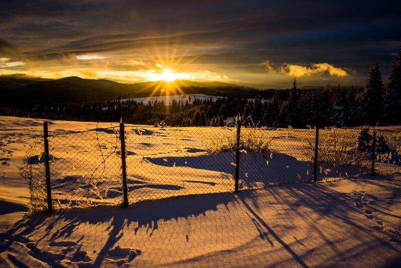 De wintersprookjesland in Roemenië stock foto's