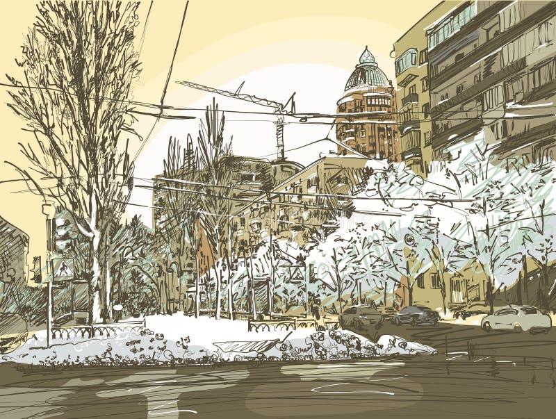 De winterstad het schilderen royalty-vrije illustratie