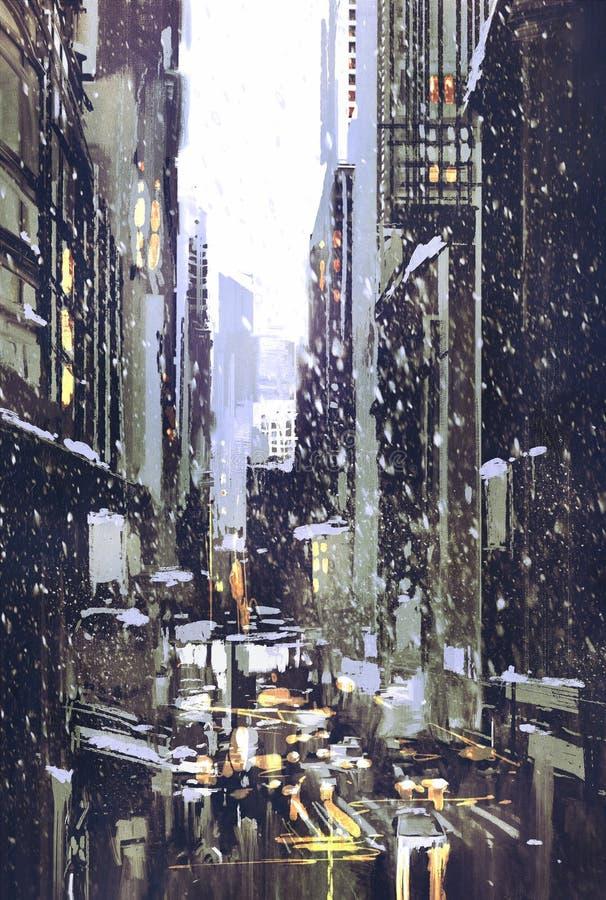 De winterstad met sneeuw vector illustratie