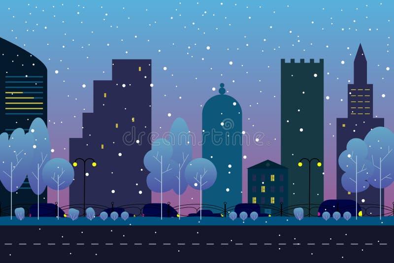 De winterstad met weg Huizen, auto's, bomen onder de sneeuw Stads achtergrondmalplaatje Avond of ochtendlandschap in vlakke stijl royalty-vrije illustratie