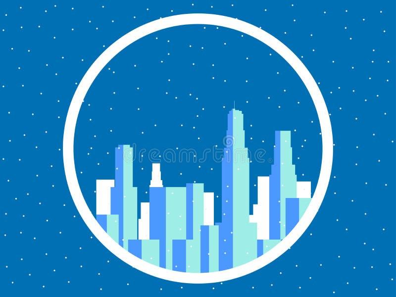 De winterstad met wolkenkrabbers Snow-covered metropool, de overzichten van gebouwen Vector royalty-vrije illustratie