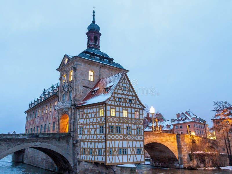 De Winterstad van Bamberg stock foto