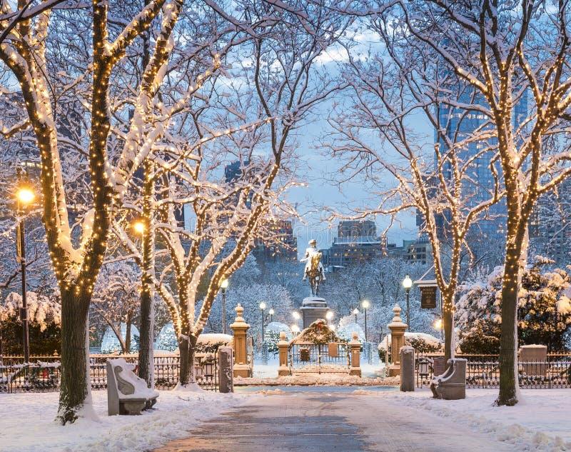 De wintertijd in Boston stock foto's