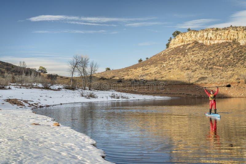 De wintertribune die omhoog in Colorado paddelt royalty-vrije stock afbeelding