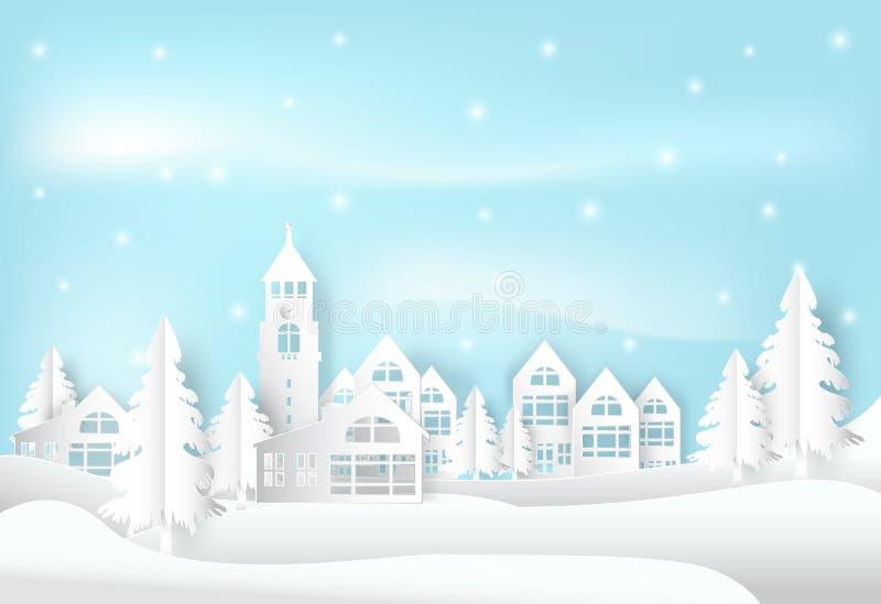 De wintervakantie en sneeuw in stadsstad met blauwe hemelachtergrond C stock illustratie