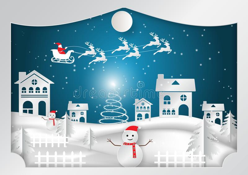 De wintervakantie met huis en Santa Claus-achtergrond Kerstmisseizoen vectorillustratie, document kunstontwerp in het Giftvakje stock illustratie