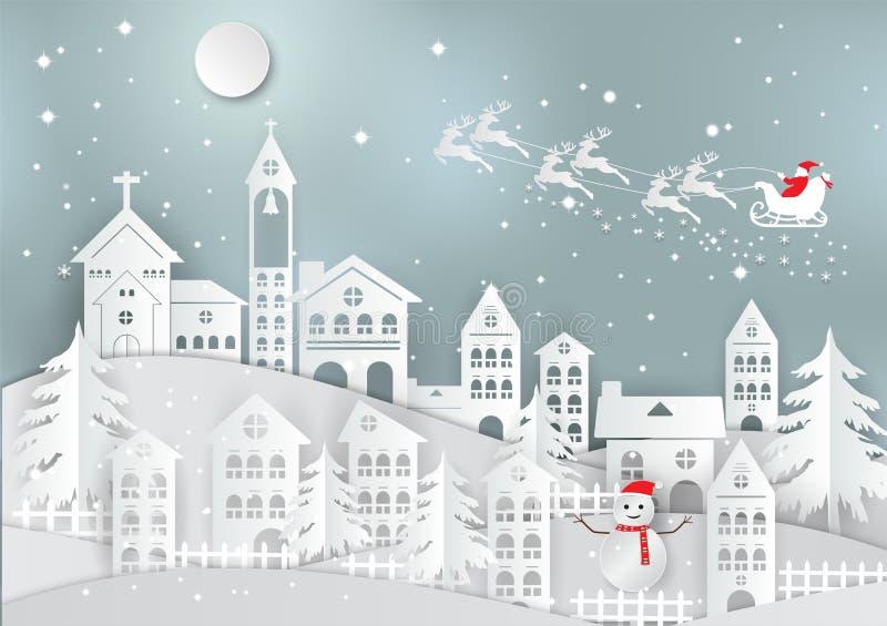 De wintervakantie met huis en Santa Claus-achtergrond Kerstmisseizoen Vectorillustratiedocument kunststijl stock illustratie