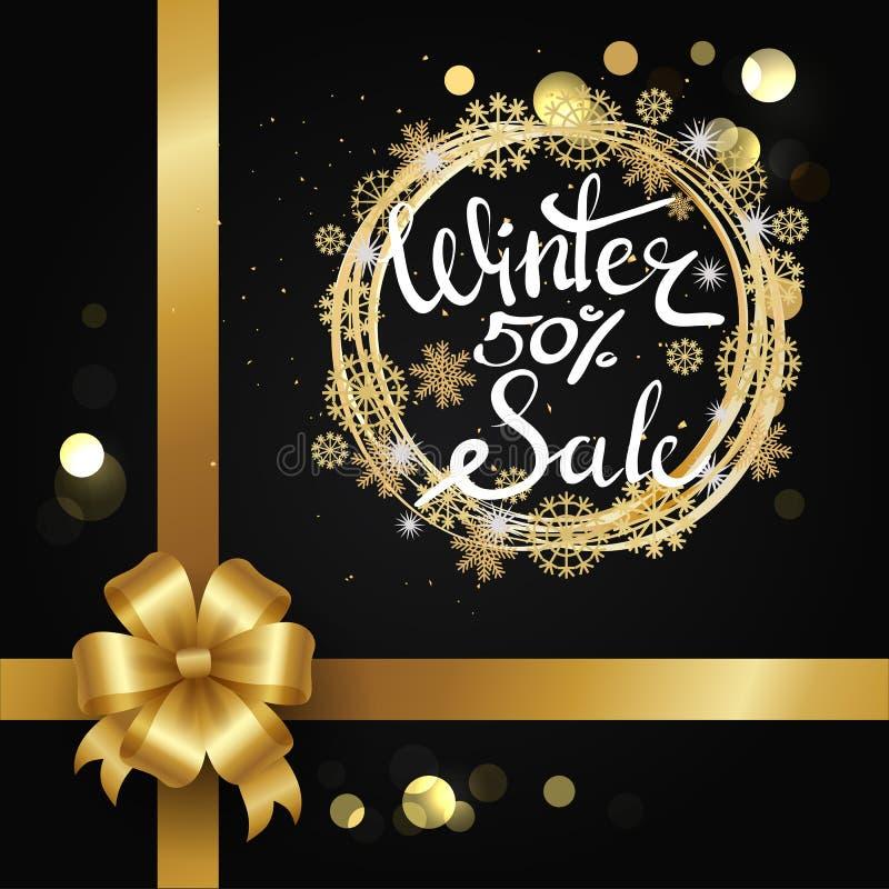 De winterverkoop 50 Elegante Affiche Vectorillustratie royalty-vrije illustratie
