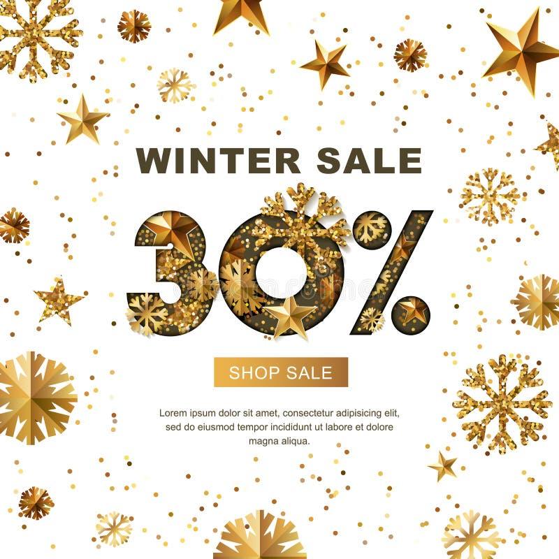 De winterverkoop 30 percenten weg, banner met 3d gouden sterren en sneeuwvlokken royalty-vrije illustratie