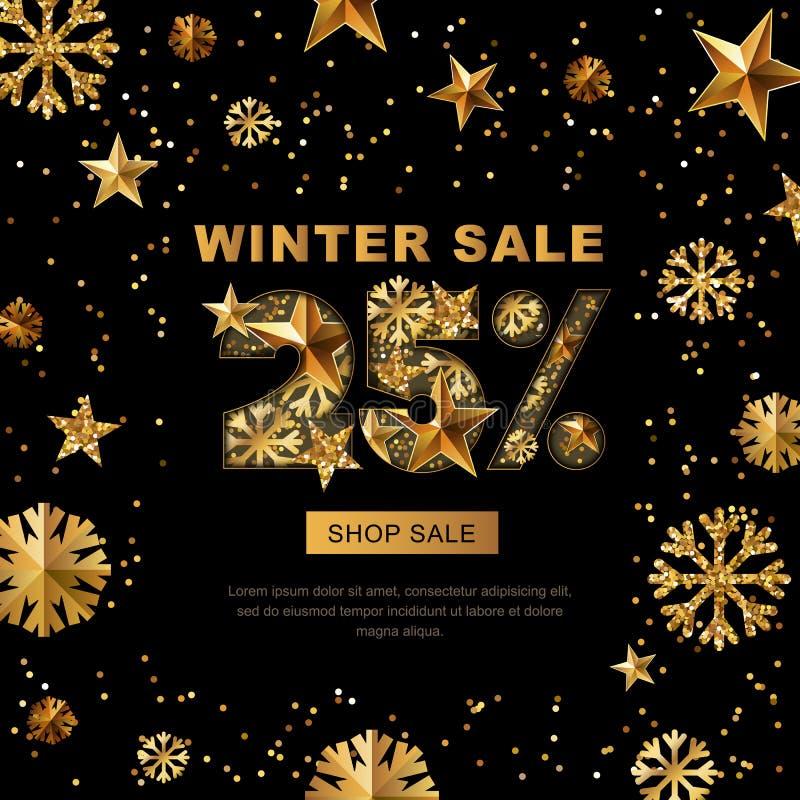 De winterverkoop 25 percenten weg, banner met 3d gouden sterren en sneeuwvlokken vector illustratie