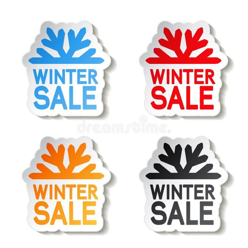 De winterverkoop van het document, sticker - de aanbieding van Kerstmis vector illustratie