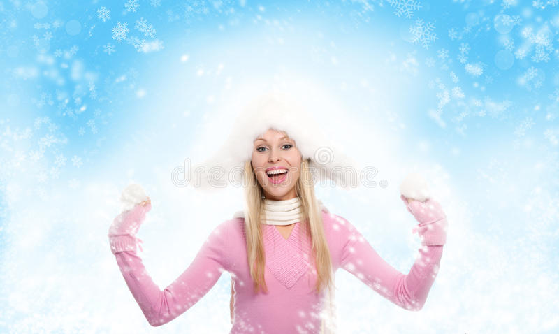 De wintervrouw royalty-vrije stock foto's
