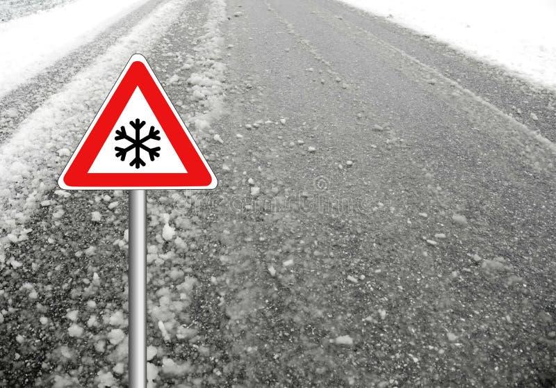 De winterweer van het sneeuwwaarschuwingsbord stock fotografie