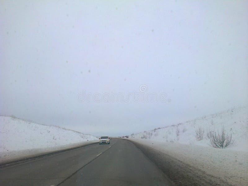 De winterweg in Rusland royalty-vrije stock afbeelding