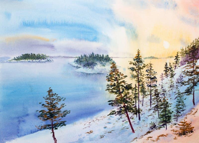 De winterzonsondergang op de eilanden royalty-vrije illustratie