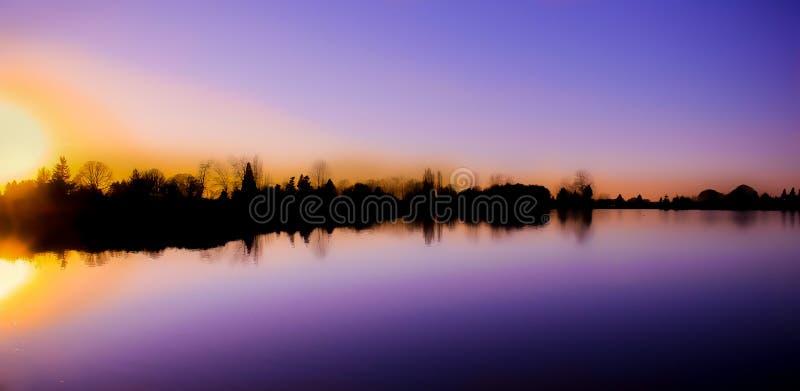 De winterzonsondergang van Oregon royalty-vrije stock afbeelding