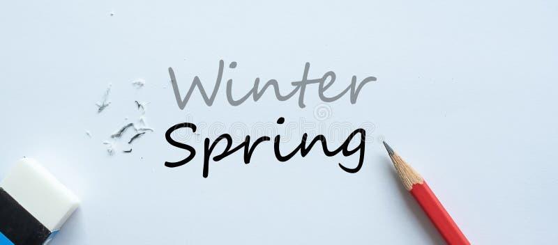 De wissende verandering van de de Wintertekst in de Lente Seasonchangeconcept stock illustratie